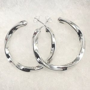 TAXCO Sterling Silver Twisted Cable Hoop Earrings